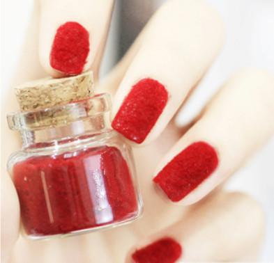 Red Flocking Nail Art Fake Nails Full Cover Pointed Fake Nails For