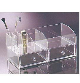 China Perspex Cosmetic Display  , Acrylic Makeup Organizer With 2 Drawer on sale
