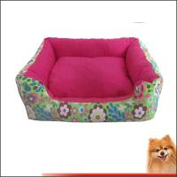 China Pink dog bed Canvas fabric dog beds with flower printed China manufacturer on sale