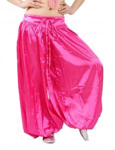 China Stretchy satin harem belly dance pants , belly dancing harem pants pink , black color on sale