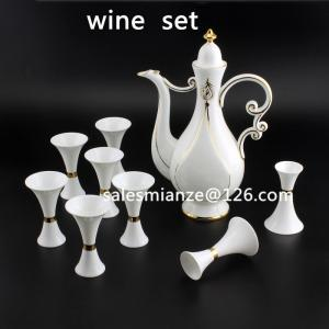 China Bone China Ceramic Wine Sets Small Capacity Japanese 250ml Wine Pot and 20ml Wine Cup on sale