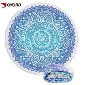 China Mandala Printed Linen Beach Towel Circle Round Shaped With Tassels Fringe on sale