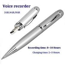 China Multifunctional Mini Digital Audio 4GB Voice Recorder Sliver Pen on sale