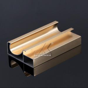 China Golded Anodized CQC Standard Kitchen Cabinet Material Aluminum Extrusted Profile on sale