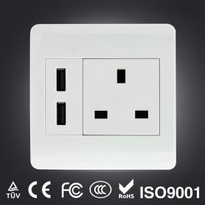 China Schuko dual USB wall socket on sale