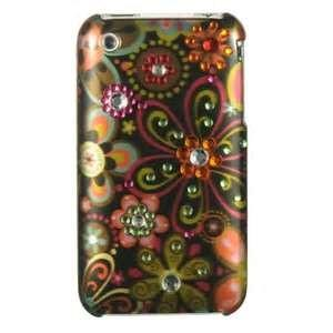 China Brown Green Flower diamond  case for apple  iphone  4S /  girly diamond iphone 4s case with PC+ Acrylic supplier