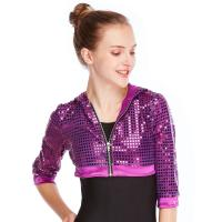 China MiDee Sequins Hoodies Hip Hop Performance Dance Top Short Jacket For Girls on sale