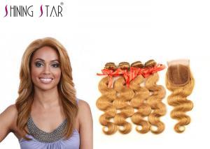 China Human Hair 4 Bundles With Closure 27 Blonde Brazilian Straight Hair Weave on sale