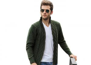 China Mens Long Cable Knitted Full Zip Army Green Cardigan Sweaters For Mens on sale