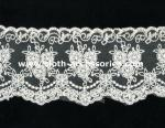 100 Cotton Lace Fabric For Dressmaking / Double Edged Scalloped Lace Trim