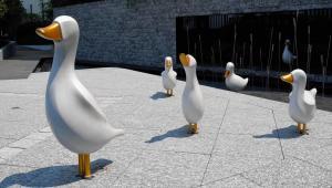 China Popular Outdoor Metal Animal Sculptures , Duck Metal Animal Ornaments on sale