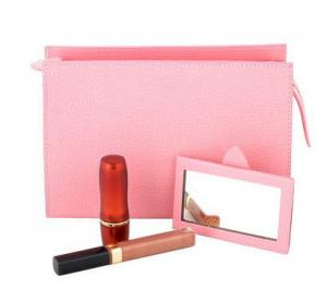 China Pink Red Leather Cosmetic Bag For Female , Genuine Leather Travel Cosmetic Bag on sale