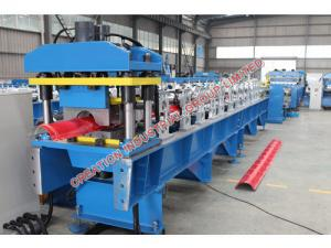 China Corrugated Colored / Plained Aluminium Ridge Cap Roll Forming Machine with Automatic Rolling Equipment on sale