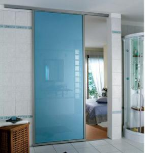 China Blue Tempered Glass Door , Tempered Glass Toilet DoorNo holes on sale