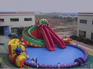 China Large Scale Inflatable Water Parks / Dragon Pool And Slide Inflatables on sale