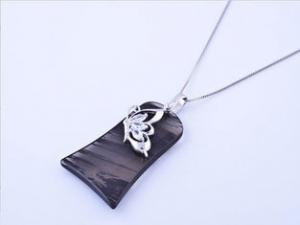 China Fashionable  Obsidian 925 sterling silver handmade  jewelry pendant for gift on sale