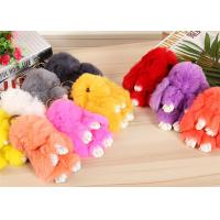 Colorful Real Fur Bunny Keychain In Stock , Furry Animal Keychain For Charm Bag