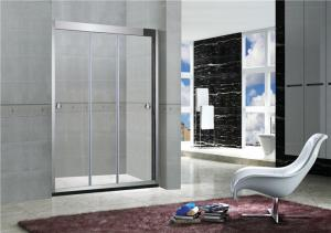 China 8MM / 10MM Stainless Steel Shower Doors Frameless Sliding With Artificial Stone Bottom on sale