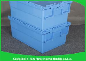 China Foldable Large Distribution Plastic Attached Lid Containers Environmental Protection Blue on sale