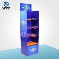 China 5 Tiers Cardboard Display Shelves , Supermarket Blue Retail Display Shelves on sale