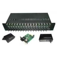 10 / 100 / 1000Mbps Ethernet Optical Fiber Media Converters Rack, 16 Slots With Dual Power