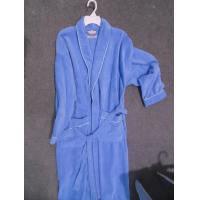 100% cotton velour terry fabric solid blue mens dressing gowns