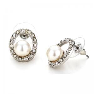 Quality Oval Shaped Trendy Costume Pearl Earrings Diamond And Stud For