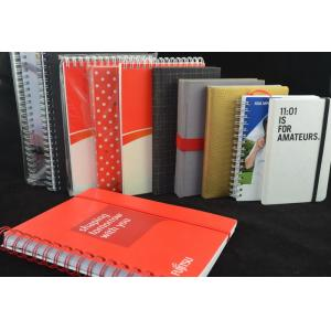 China Red Recycled Custom Paper Notebooks , Spiral Bound Notebooks With Elastic Band on sale