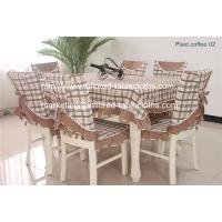 Plaid table linens: table cloth and chair cover set, plaid cotton tablecloths supply,