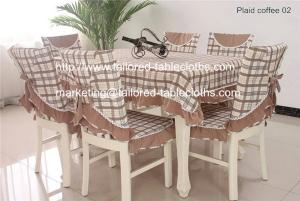 China Plaid table linens: table cloth and chair cover set, plaid cotton tablecloths supply, on sale