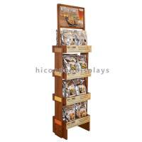 Food Shop 4-Layer Wood Flooring Display Rack , Coffee Bag And Nuts Display Units