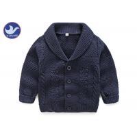 Lapel Collar Boys Navy Blue Cardigan Sweater, Children