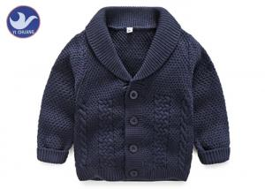 China Lapel Collar Boys Navy Blue Cardigan Sweater , Children's Knitted Jackets Cotton on sale