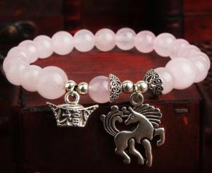 China Rose quartz bracelets, pink crystal bracelets, gemstone beaded bracelets on sale