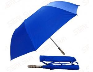 China Light Blue Foldable Golf UmbrellaFibreglass Ribs Bamboo Handle 14mm Steel Shaft on sale