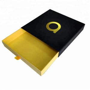 China Custom chocolate box with Foil Embossed logo Black drawer box on sale