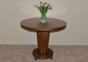 China Solid Wood ø90 Round Modern Dining Room Tables with Walnut Veneer Finished on sale