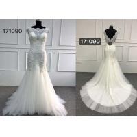 Beautiful White Lace Mermaid Style Wedding Dress With Long Chapel Train Zipper Back