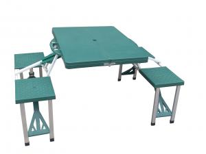 China Outsunny Blue Folding Outdoor Camping Equipment Suitcase Picnic Table with 4 Seats on sale