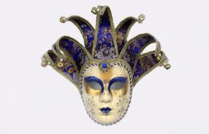 China Full Face Venetian Jester Mask for Party , Ladies Masquerade Masks Black on sale