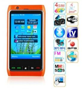 China FN8 Quad sim card mobile phone with ISDB-T+analog TV phone+GPS + wifi 2GB on sale