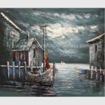 Abstract Houses Boat Dock Canvas Wall Art Paintings For Living Room