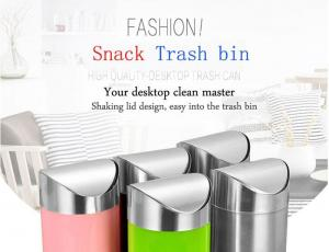 China Mini Desktop Snack Trash Bin With Lid For Home and Car on sale