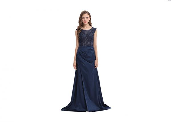 Sleeveless Forging Split European Wedding Dresses , Ball Gown Dark ...