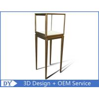 Manufacturer oem top grade fully assemble  brush stainless steel glass pedestal display stand with lights