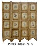 Vintage Countryside Carving 4 Panel Folding Screen Wooden Screen Room Divider