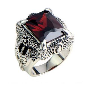 China Mens Thailand Retro Dragon Sterling Silver Ring with Created Garnet(023605WRED) on sale