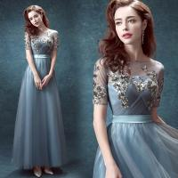 Light Blue Organza Elegant Evening Dresses TSJY011