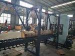 木製の切断の縦バンドは製材製造所の倍の刃の製材所を見ました