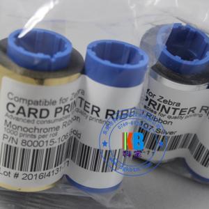 China Genuine color ribbon silver gold 1000 prints for zebra id card printer P310 P330i P420 P520 printer on sale